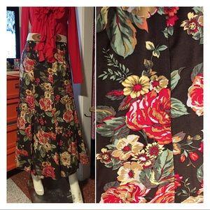Floral Print Boho Prairie Full Flare Maxi Skirt